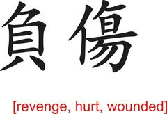 Chinese Sign for revenge, hurt, wounded Stock Illustration