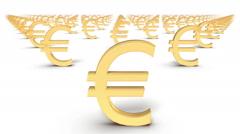 Dolly over many Euro Symbols to a single Symbol Stock Footage