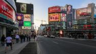 Stock Video Footage of Traffic on Dundas Square in Toronto in Time Lapse, Canada