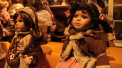 Dolls in store - handheld Stock Footage
