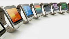 Multiple smart watches - stock footage