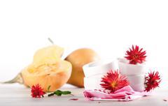 Pumpkins and cooking utensil Stock Photos
