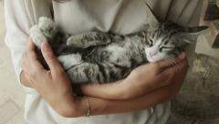 0391 Pet therapy, kitten in the arm of a young woman Stock Footage