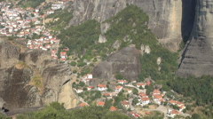 Meteora, Kalabaka Village in middle of mountains, Ancient constructions Stock Footage