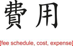 Chinese Sign for fee schedule, cost, expense - stock illustration