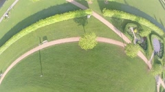Flight over the city park on the drone Stock Footage