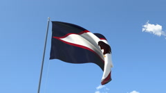 The flag of American Samoa Waving on the Wind. Stock Footage