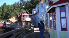 Ketchikan, Alaska, one shopper Stock Footage