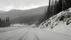 Driving in hail & snow on Wolf Creek Pass-N8-HD P-2101 Stock Footage