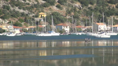 Mediterranean landscape with port, sea, ships, boats and yachts. Ionian Islands. Stock Footage