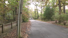 Quiet tree lined street no sidewalk pan right Stock Footage