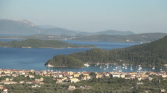 Mediterranean landscape with islands, port, sea and ships Stock Footage
