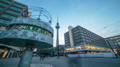 World Time Clock closeup, T.V. Tower, Alexanderplatz Berlin, Germany Stock Footage