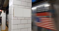 Manhattan Subway Blank Sign Stock Photos
