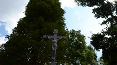 Stock Video Footage of Gravestone in the form of crucified god. Lviv, Ukraine.