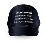 dictionary word of retirement on baseball cap - stock illustration
