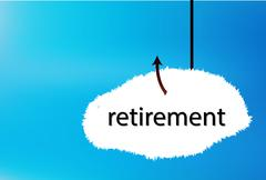 retirement text cloud on blue back ground - stock illustration