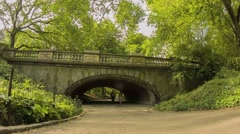 NY Central Park_People Walk in the Tunnel Stock Footage