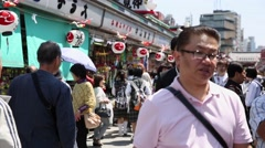 People walking at Asakusa district in Tokyo, Japan Stock Footage