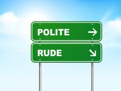Stock Illustration of 3d road sign with polite and rude
