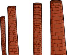 old brick chimneys - stock illustration