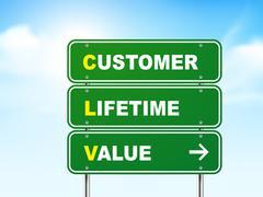 Stock Illustration of 3d customer lifetime value road sign