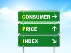 3d consumer price index road sign - stock illustration