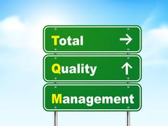 3d total quality management road sign - stock illustration