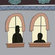 silhoutte of people in windows - stock illustration