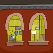 Apartment at night Stock Illustration
