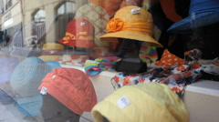 Hats on sale in France - stock footage