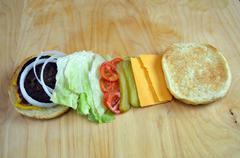 BBQ Hamburger With Toppings - stock photo