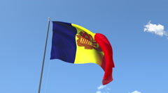 The flag of Andorra Waving on the Wind. - stock footage