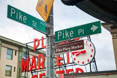 pike place sign at the famous public market in seattle - stock photo