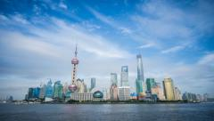 4k resolution Shanghai shadowy skyline time lapse Stock Footage