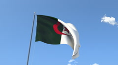 The flag of Algeria Waving on the Wind. Stock Footage