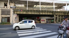Railway and road in Asakusa, Tokyo, Japan Stock Footage