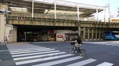 Railway and road in Asakusa, Tokyo, Japan Stock Footage