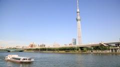 Tokyo Skytree and Sumida River, Tokyo, Japan Stock Footage