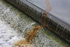 Floating sludge at final effluent Stock Photos