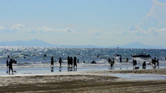 Silhouette People on the beach - stock footage