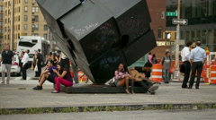 Famous cube in Cooper Square, Manhattan, New York City, Greenwich Village, NYC Stock Footage