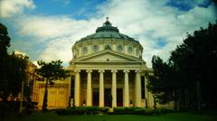 Romanian Athenaeum in Bucharest, time lapse - stock footage