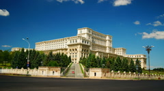 Parliament of Romania, the second largest building in the world Stock Footage