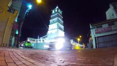Time lapse of glowing Kampung Kling Mosque in the night. Melaka. Stock Footage