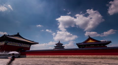 The cloudscape and the main hall of the Temple of Heaven in Beijing,China Stock Footage
