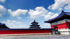 Walking along the red wall in the Temple of Heaven,Beijing,China Stock Footage