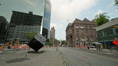 Famous Cube in Cooper Square intersection in Manhattan, New York City, NYC Stock Footage