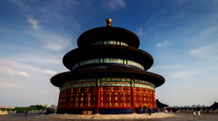 Walking outside around the Qinian Palace in the Temple of Heaven in Beijing Stock Footage