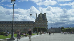 Time lapse of people walking past Musee du Louvre, Paris Stock Footage